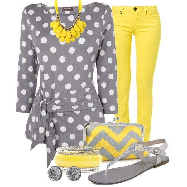 Spring Yellow & Gray, created by justbeccuz on Polyvore. I really like this shirt!