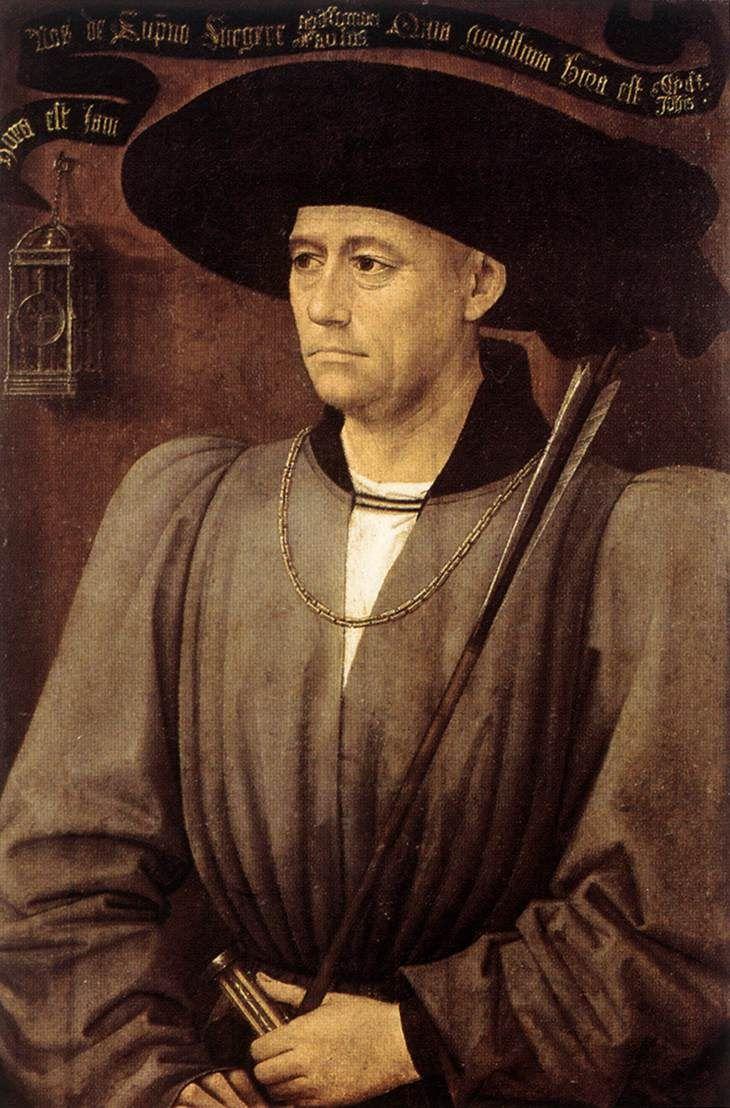 Rogier van der WEYDEN. Portrait of a Man  c. 1450  Oil on panel, 75 x 50 cm  Koninklijk Museum voor Schone Kunsten, Antwerp