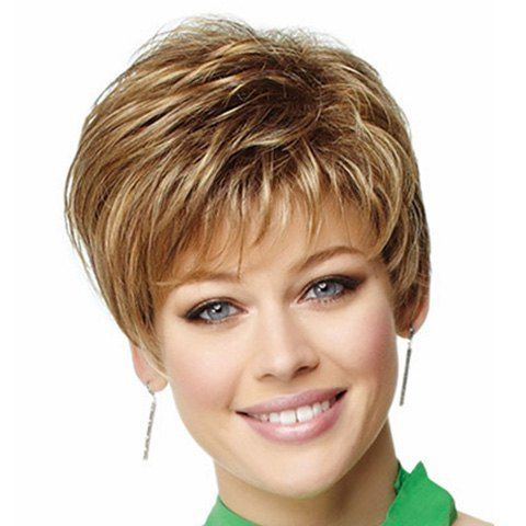Top Quality Capless Slightly Curly Fluffy Side Bang Mixed Color Synthetic Women's Short Wig