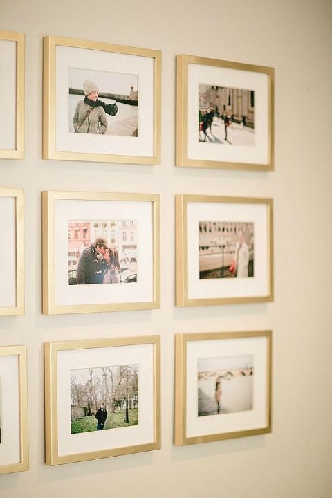 gallery wall grid with gold frames