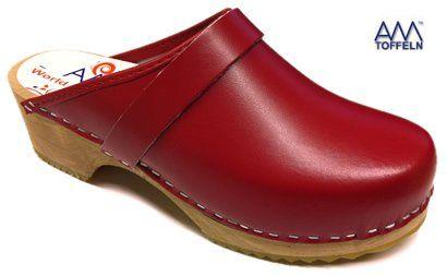 AM-Toffeln 100 zuecos suecos de madera y cuero rojo: Amazon.es: Zapatos y complementos