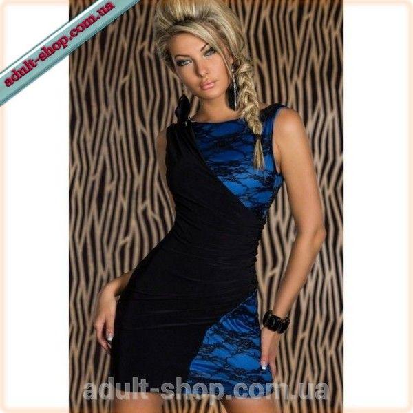 Черно-синее кружевное платье-мини