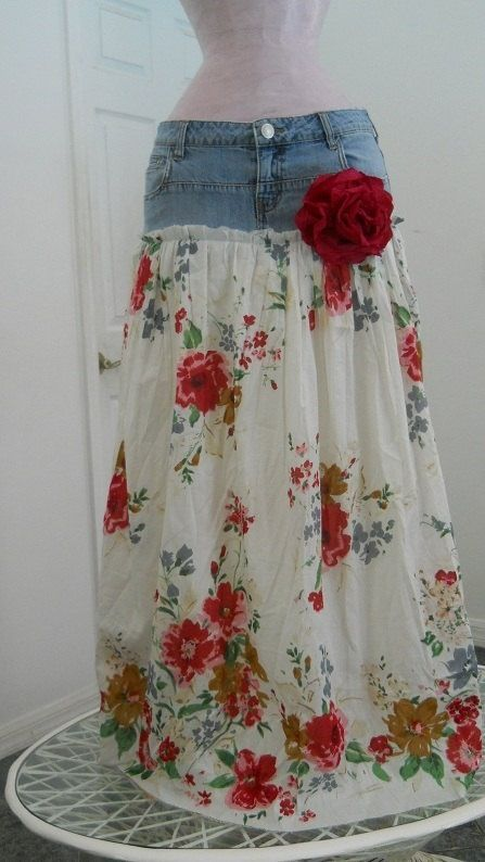 Upcycle old jean shorts into a maxi-skirt