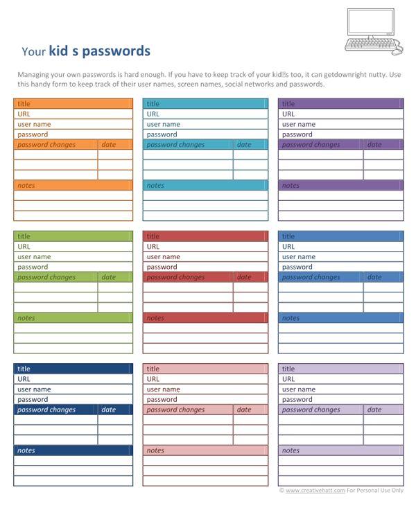 9 best Password organization ideas images on Pinterest   Free ...