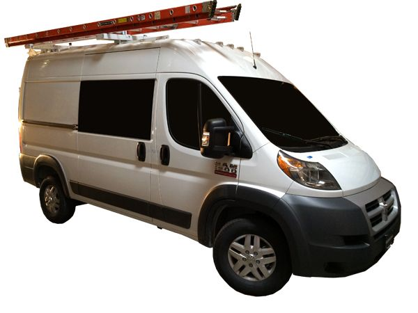 Single Ez Drop Down Ladder Rack For Mid Roof Full Size Vans With