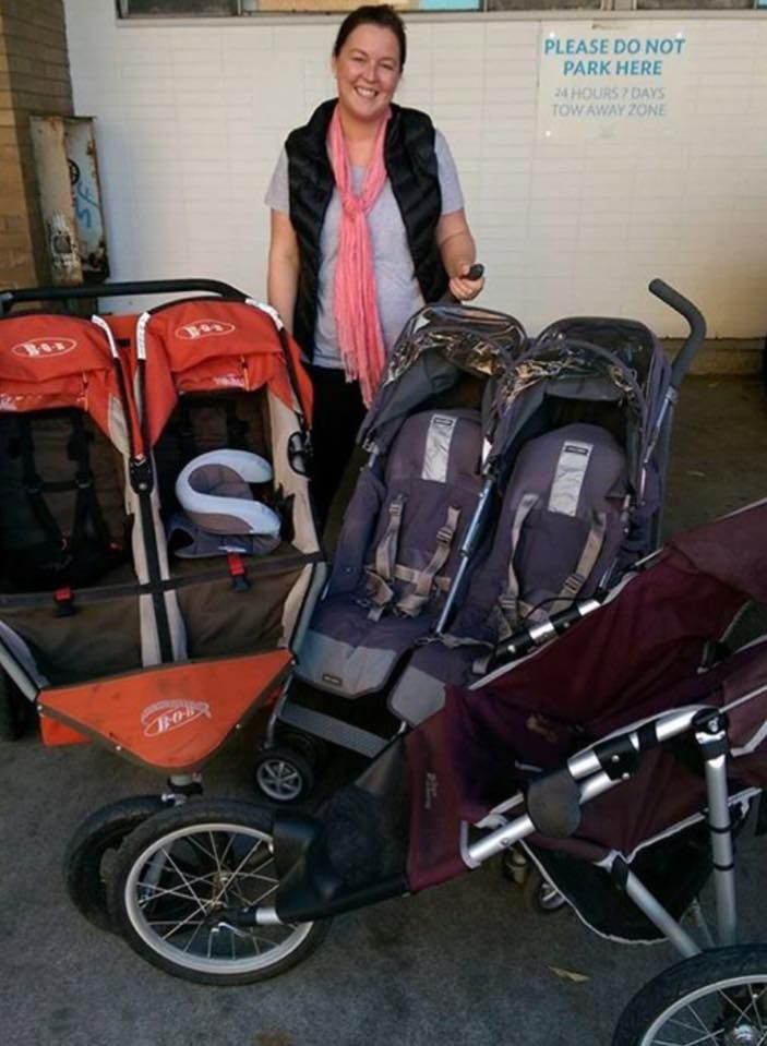 How's this for a donation? Three prams from one family, two doubles and a single. A pram for every occasion! Thank you so much!!!