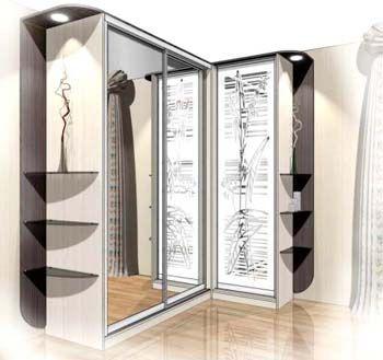 Конструктивный дизайн шкафа купе - угловой шкаф купе.