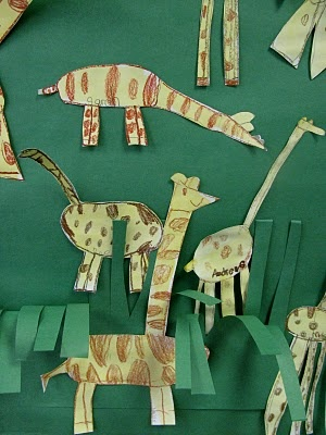 "Giraffe artwork created by kindergarten children in anticipation of my author visit introducing my picture book, ""Tall Giraffe"""