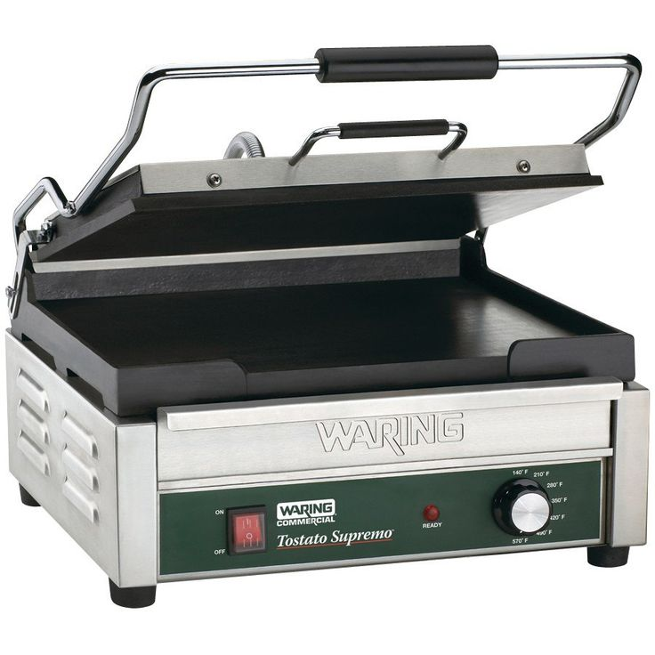 "Waring WFG250 14 1/2"" x 11"" Tostato Supremo Large Smooth Top & Bottom Panini Grill 120V"