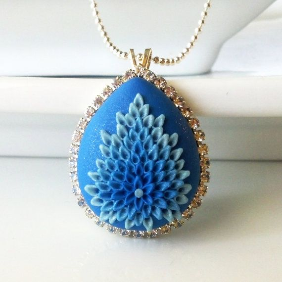 Blue Bird  NECKLACE  clay embroidery & rhinestone by Anca Pe'elma, $38.00