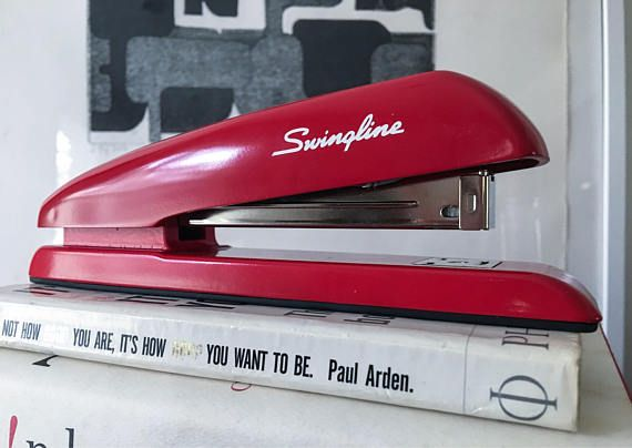 Milton's Red stapler (Identical Office Space Movie Prop) It may be the most iconic office supply there is: the red Swingline stapler. The funny thing is, the red Swingline desk stapler didn't exist outside the movie. The people who made the film originally intended to use a red