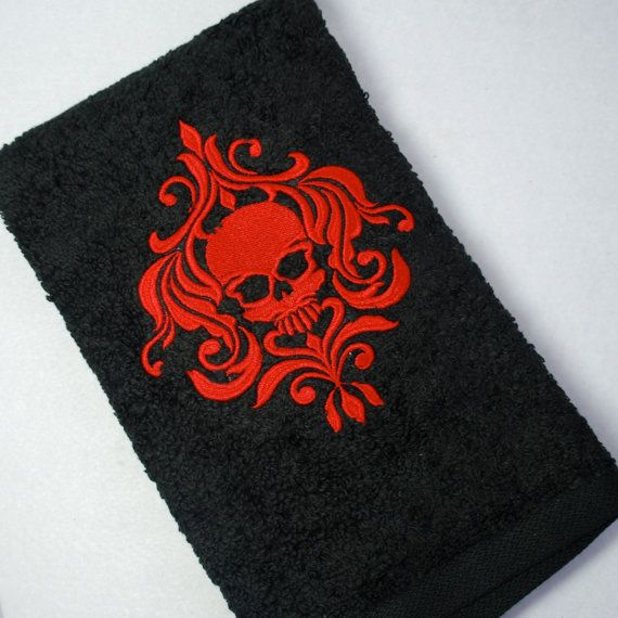 embroidered black bathroom hand towel