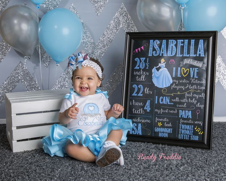 Ready Freddie Studios Photography Cinderella Cake Smash Photo Session Idea LOVE the Cinderella One Year Chalkboard and the blue and silver glitter chevron backdrop