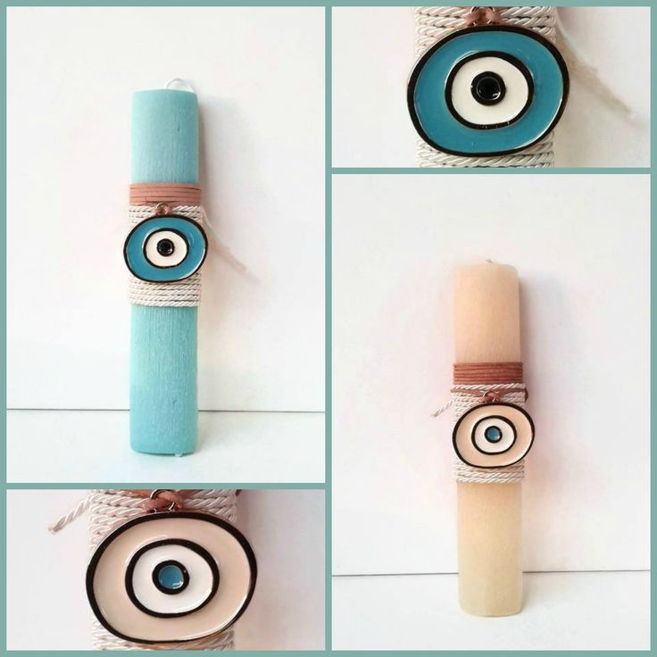Unique and elegant Easter candles with enamel evil eye necklace.