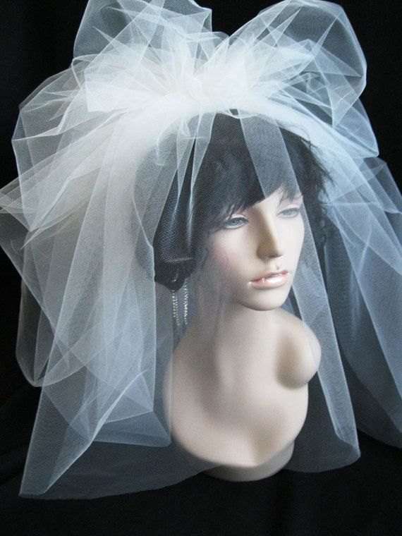 Bubble Wedding Veil with Blusher in TULLE by FascinatingCreations, $98.95