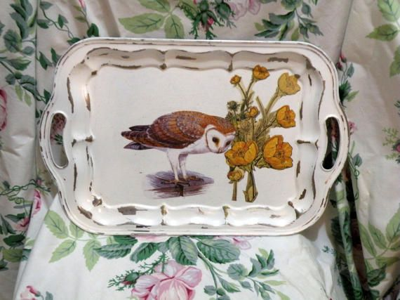 Barn Owl Bird Serving Tray  Plate Stand Tray by CasualHomeStyle