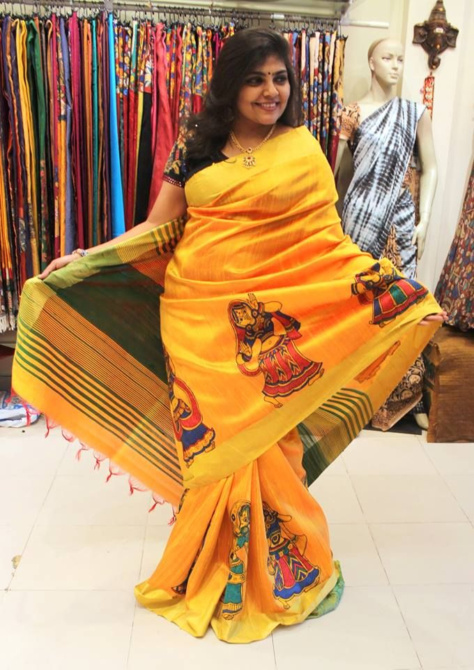 Beautiful mustard color Kalamkari Saree with dancing dolls border.  Old is gold and we agree with this saying when we see these beautiful Kalamkari Sarees. Yes Kalamkari Sarees are in trending now.  Contact - 092480 25432
