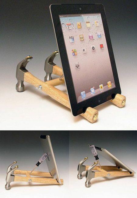 Creative hammer iPad Dock. | Ipad stand, Diy phone holder