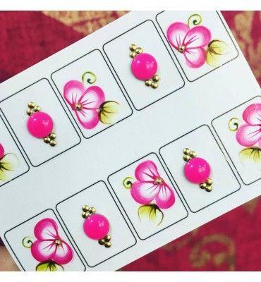 Doce Pelicula Joia premium rosa com flor rosa e pedras - Adesivos para Unhas, Películas para Unhas e Esmaltes - Doce Película