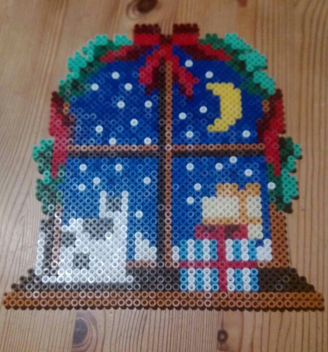 Christmas window hama perler beads by Susanne Damgård Sørensen