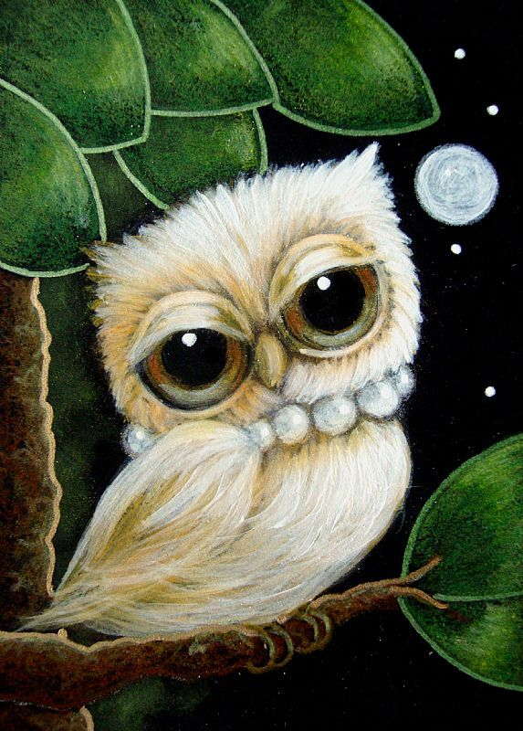 Detail Image for art TINY LOVELY GIRLY GOLDEN OWL WITH PEARLS