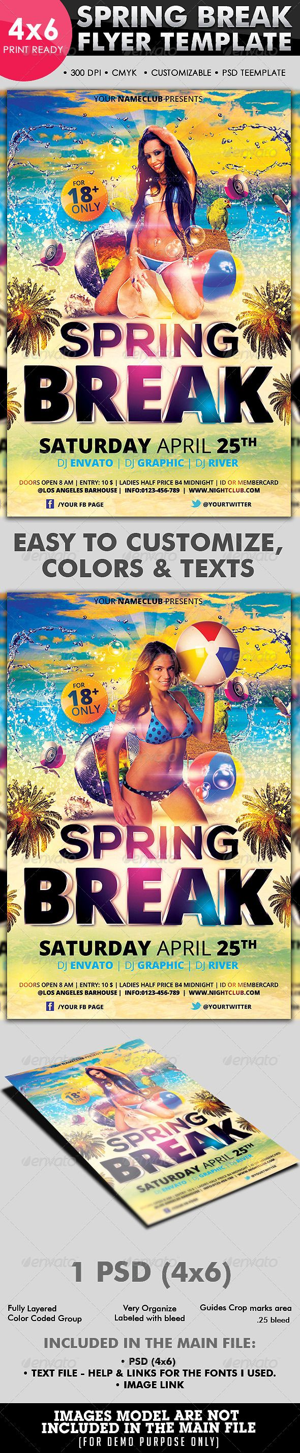 Spring Break Flyer Template  #GraphicRiver         Best for promoting you party this summer!   This flyer can also be used to promote your Club events, Birthday bash, etc. all elements shown are included in the PSD except for the model.  THE PSD FILE SET UP   1 PSD   4X6 ( .25 bleed)   300 DPI  CMYK  Editable colors  Editable text layers  Very Organize  Fully Layered  With bleed  With crop marks area  With guidelines  Fonts  Open sans  Nexa  INCLUDED IN THE MAIN FILE  1 PSD   Text file – Help & Links for the fonts I used.  Images Link  IMAGES MODEL ARE NOT INCLUDED IN THE MAIN FILE.  CREDITS  Playing on the beach  Beach ball girl  Mockup from CarlosViloria   if you like it please rate it.  Have fun! Enjoy!  Facebook Timeline Cover       Flyer's Bundle   Club/Dance Battle/Party/Events Flyers                                                           Created: 1April13 GraphicsFilesIncluded: PhotoshopPSD Layered: Yes MinimumAdobeCSVersion: CS3 PrintDimensions: 4×6 Tags: colorful #creative #disco #flyer #girls #glamorous #heat #holidays #lights #modern #moves #music #night #pink #pool #poster #pretty #sexy #sound #spring #summer #sunday #swim #swirl #templates #water #yellow