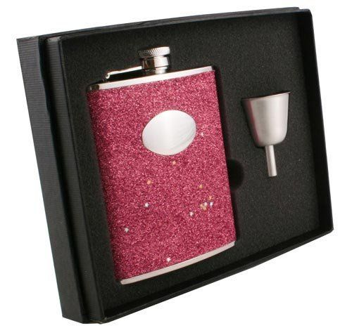 "Visol ""Carina"" Glitter Stainless Steel 6oz Flask Gift Set . $27.95"