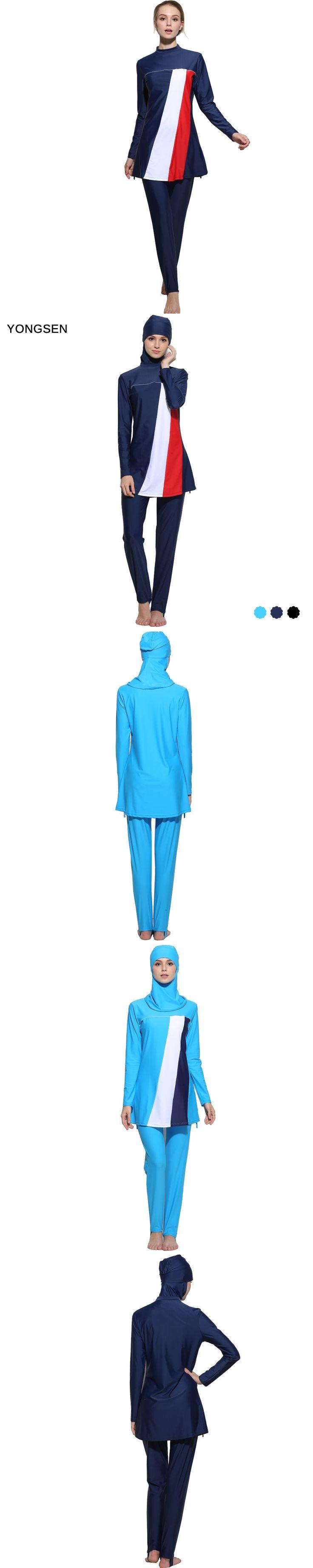 YONGSEN YONGSEN Plus Size Modest  Women Muslim Swimwear Islamic Conservative burkinis Bathing hijab swimming Swimsuit Beachwear