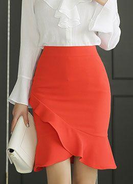 Romantic Ruffle Tulip Hem Pencil Skirt, Styleonme