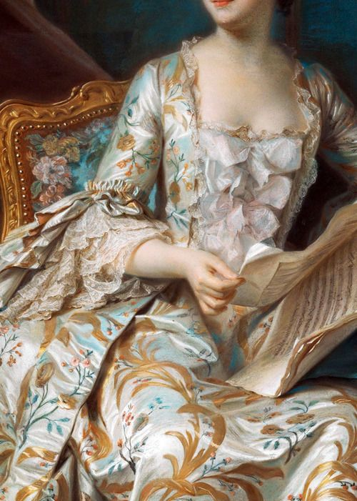 """Full-length portrait of the Marquise de Pompadour"" (1748-1755) (detail) by Quentin de La Tour (1704-1788)."