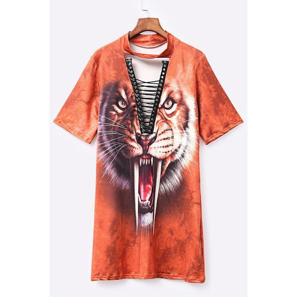 Yoins Orange Lace-up Design Animal Pattern Choker Mini Dress ($19) ❤ liked on Polyvore featuring dresses, orange, red lace up dress, short red dress, red dress, short dresses and animal print dresses