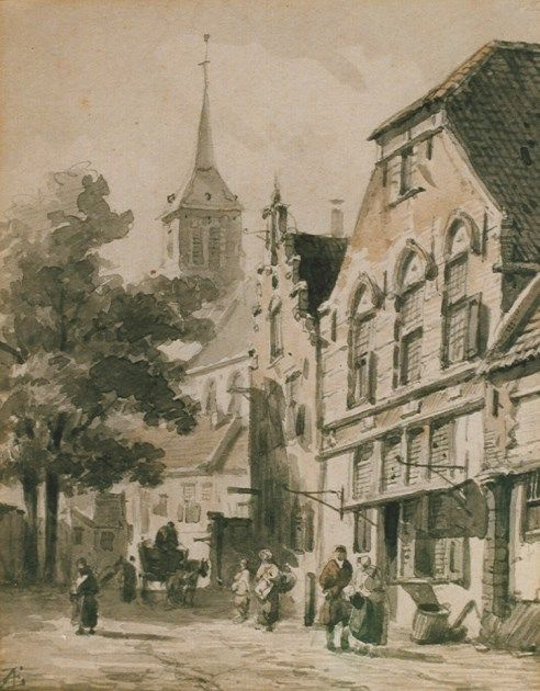 Adrianus Eversen (Amsterdam 1818-1897 Delft) Street with pedestrians and a horse-drawn cart - Dutch Art Gallery Simonis and Buunk Ede, Netherlands.