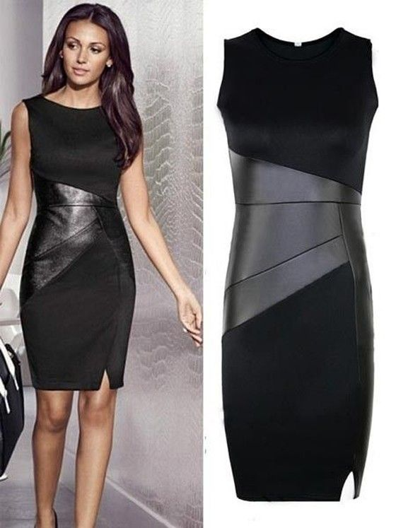 Black Patchwork PU Leather Slim Dress #vestido #tubinho #couro #preto