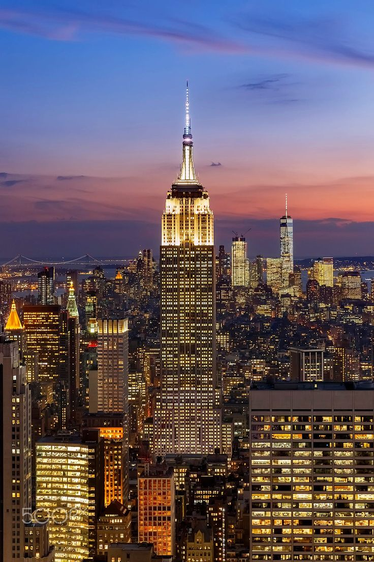 Picture taken during the blue hour from top of the Rockefeller Centre, Manhattan.