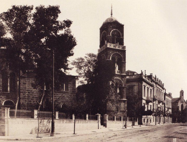 1890- The famous Russian church, Philellinon st., downtown Athens, Greece.
