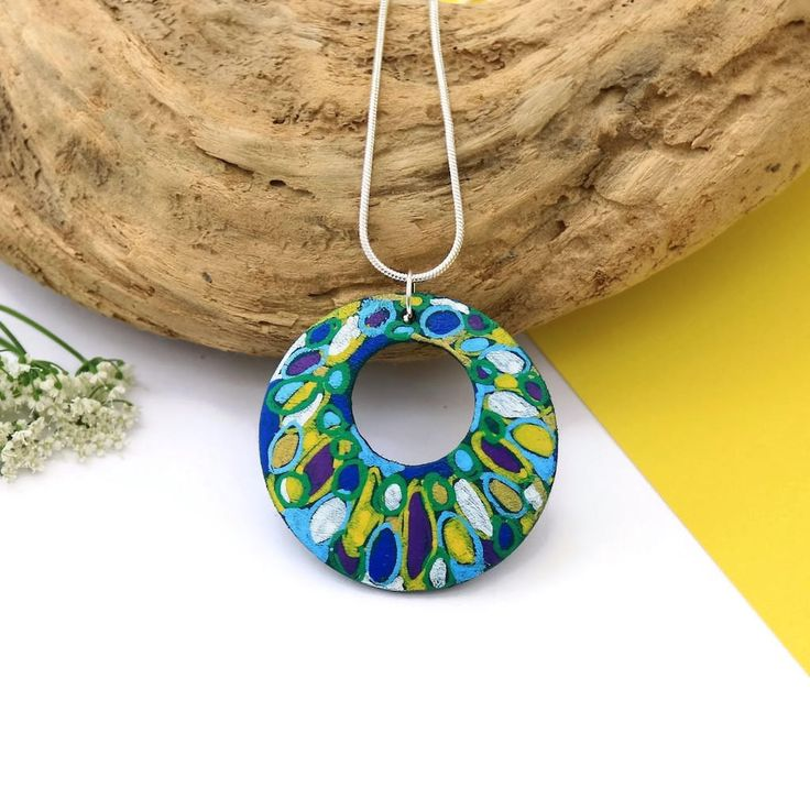 Abstract Art Pendant, Artisan Jewelry, Hand Painted Necklace, Colourful Jewelry, Modern Necklace, Gift For Art Lovers, Wearable Art