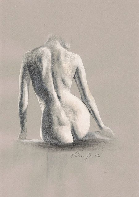 ORIGINAL DRAWING - Female nude 19 by Milena Gawlik, pencils on grey paper, artistic drawing of a sitting naked woman