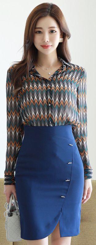 StyleOnme_Metal Bar Detail Front Slit Pencil Skirt #blue #pencilskirt #feminine #koreanfashion #kstyle #kfashion #springtrend #dailylook