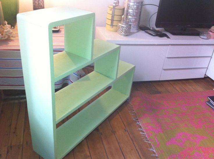 1950s wooden stepped bookshelf