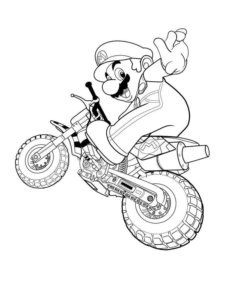 Happy Super Mario motorcycle coloring page for kids