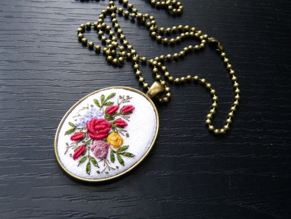 Embroidered pendant needlework cameo brass by EmbroideredJewerly