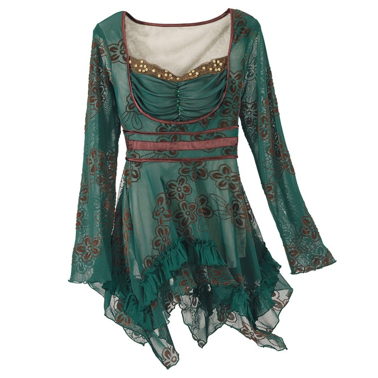 I am drawn to romantic styles like this, but this one might be a tad too gaudy. Forest Finery Top, $50. velvet-flocked top, empire waist, handkerchief hem, bead accents.