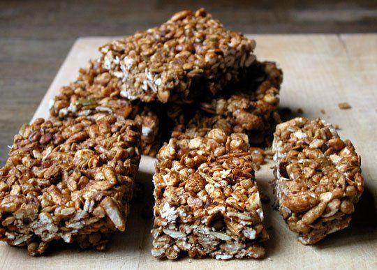Crunchy Granola Bars  Cookbook Recipe (nut butter, honey, puffed wheat, bran buds, oats, seeds, etc)