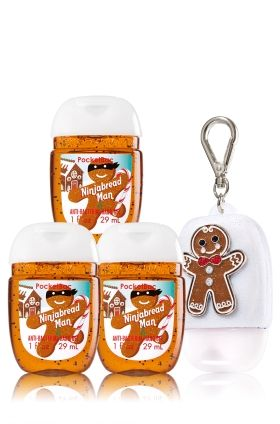 Ninjabread Man 3-Pack PocketBac & Holder - Soap/Sanitizer - Bath & Body Works