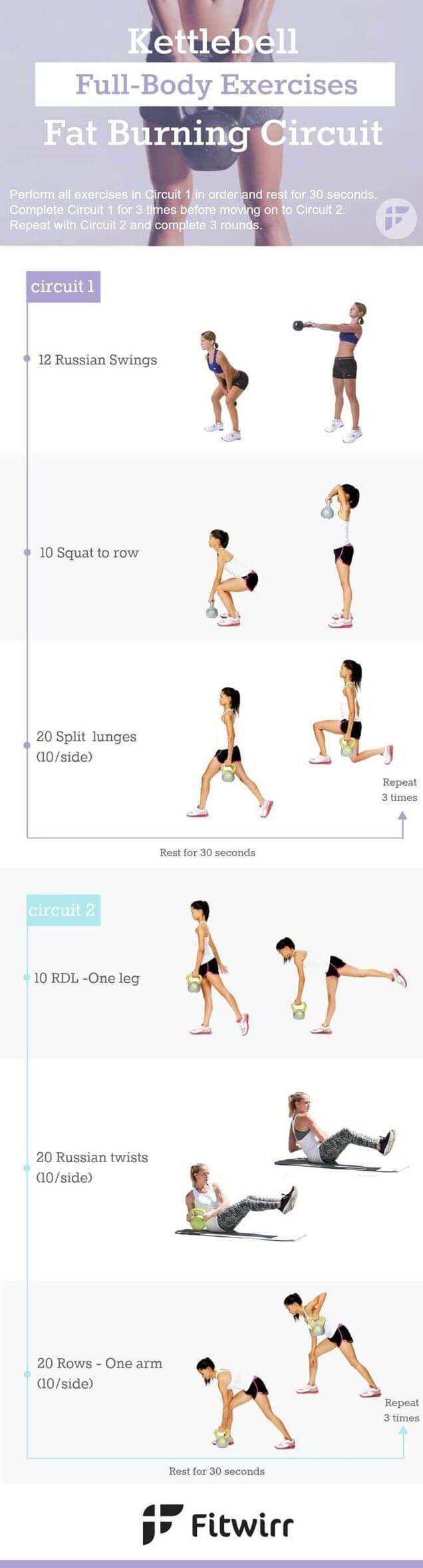 6 Kettlebell FAT BLASTING Workout Circuits. | Posted By: CustomWeightLossProgram.com https://www.kettlebellmaniac.com/kettlebell-exercises/ #Fullbodyworkouts