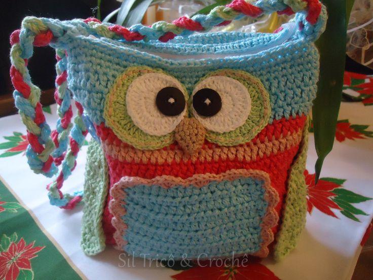 Bolsinha infantil em crochê 100% algodão motivo corujinha  sob encomenda