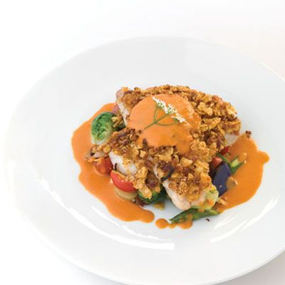 Zapps-crusted Cobia with Garden Vegetable Hash and Smoked Tomato Butter Sauce by 2012 Chef to Watch Brad McGehee of Ye Olde College Inn in New Orleans.