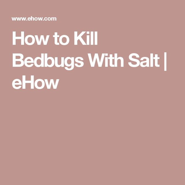 How to Kill Bedbugs With Salt | eHow