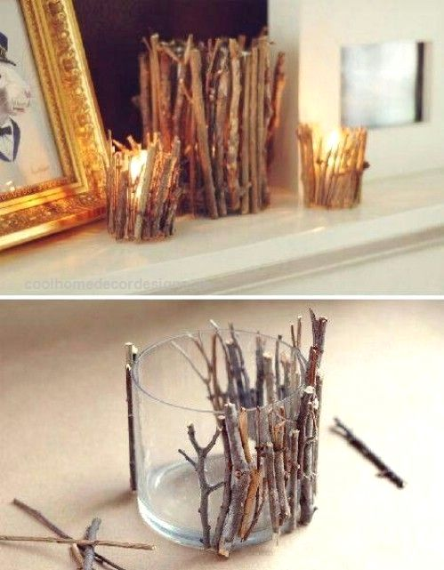 Twig Candle Holders – 40 Rustic Home Decor Ideas You Can Build Yourself… Twi…