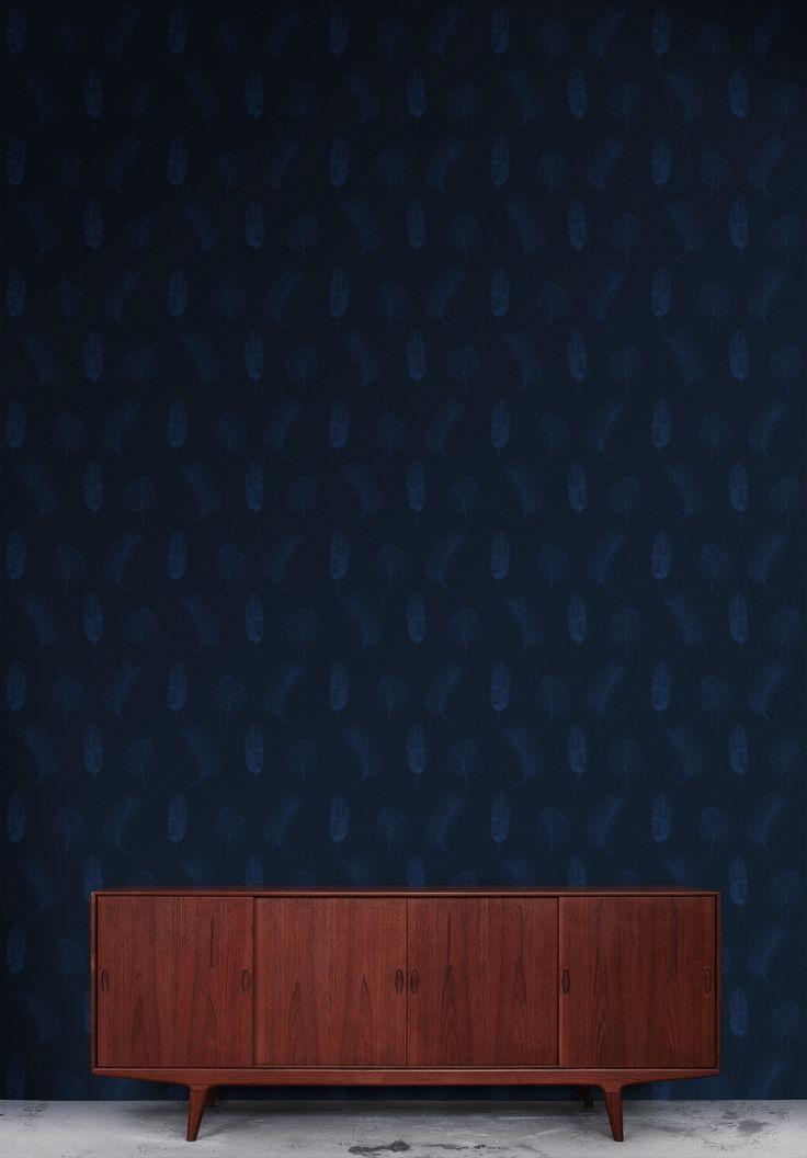 #Rumruk #Wallpaper #Navy #Blue #Leaves
